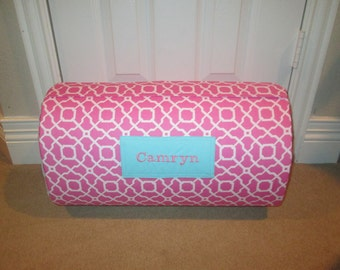 MONOGRAMMED Childrens THICK COMFY Nap Mat PreSchool Pink Geo has Attached Dotted  Cuddle Minky Blanket and Pillow