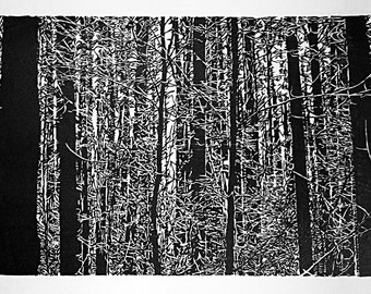 """The Ridges Sanctuary, hand carved woodblock print, 13""""x19"""", limited edition of 100"""