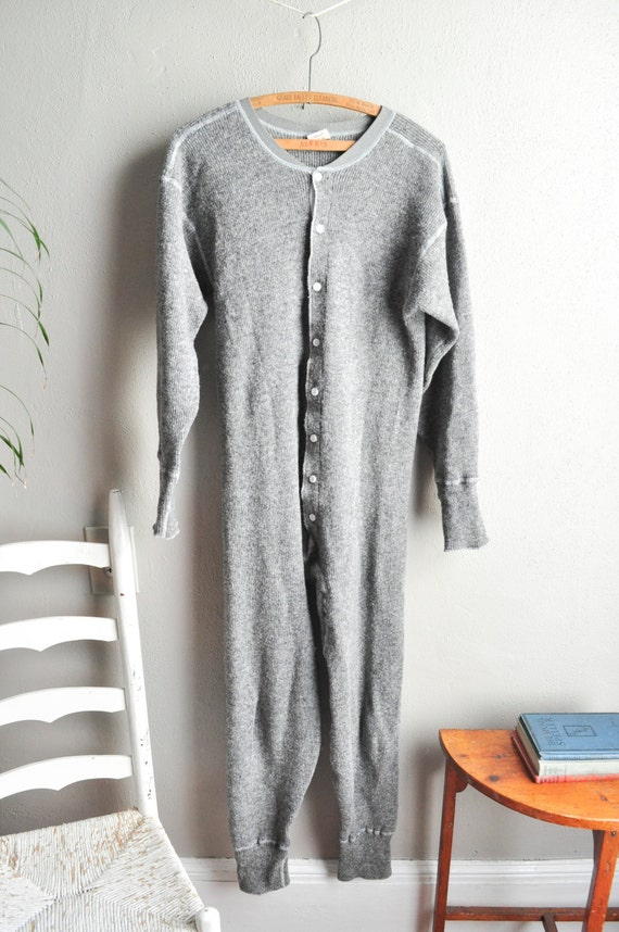 Vintage Wool Union Suit Long Underwear Unisex Winter Warmth