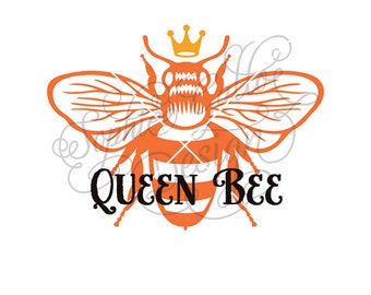 Queen Bee SVG, DXF, PNG digital download files for Silhouette Cricut vector clip art graphics Vinyl Cutting Machine, Screen Printing
