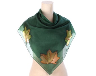 MAPLE Print Scarf Sheer Moss Green Silk Neck Scarf Large Leaf Printed Head Scarf in Mossy Bohemian Boho Wrap Neck Wear Hand Rolled Gift Idea