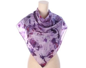 GALAXY PRINT Silk Scarf Tie Dye Large Shawl Handpainted Tie Dye Purple Silk Neck Scarf Hand Rolled Edges Christmas Gift Idea, Womens Gift