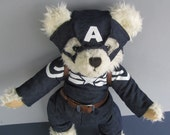 Custom for kyliebiffies Captain America Bear with shield, altered bear stuffed toy