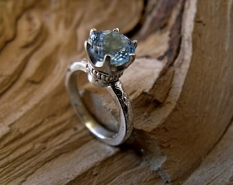 Swiss Blue Topaz 7mm In Sterling Silver 6 Prong Ring RF167