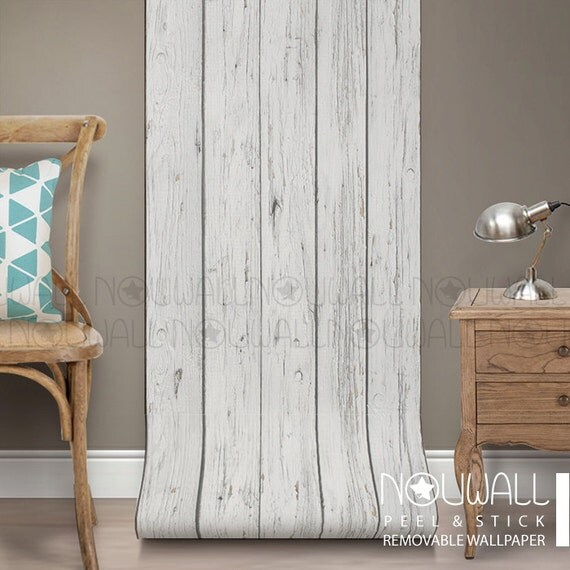 Wall Decorations Peel And Stick : Grey wood texture wallpaper peel and stick home decor wall
