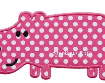 607 Hippo Machine Embroidery Applique Design