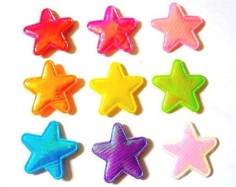 100 pcs - Shiny Star Padded Appliques - mix color - size 25 mm