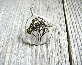 Smoke Bush Flowers Necklace, Rustic Flower Jewelry, Pressed Flower Necklace, Purple and Green Flowers, Botanical Jewelry, Silver Necklace