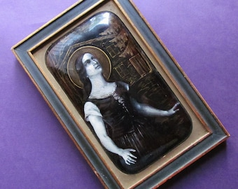 Joan Of Arc Hearing Voices Antique French Limoges Religious Porcelain Hand Painted Plaque