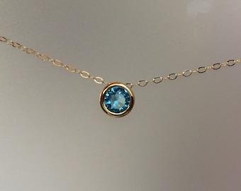 Simple Aqua Blue Crystal Necklace