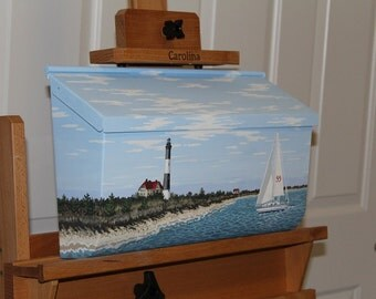 Wall Mounted, Hand Painted, Long Island Lighthouse Mailbox with a Sailboat - Beach Decor