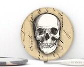 Skull BIG Refrigerator Magnet - Skull Pin Badge - Skull Pocket Mirror - Day of the Dead Gift