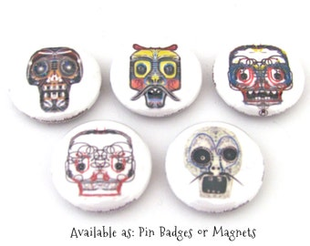 Sugar Skulls Magnet Set - Day of the Dead Pins or Magnets - Illustrated Skull Magnets or Pins