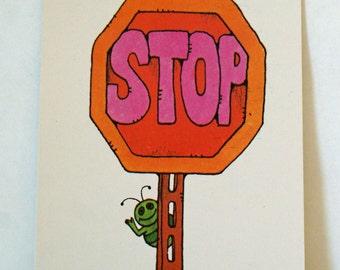 Vintage Flash Card STOP Sign Green Bug Nursery Art Decor Paper Ephemera Bright Colors 1977 Milton Bradley