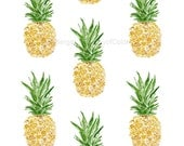 Pineapples  Art Print, kitchen art, pineapple watercolor, All over pineapples ,tropical, Yellow Green, botanical art,  fruits art,