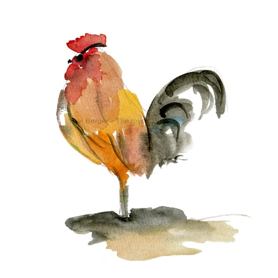 The Rooster art print, Rooster watercolor print, farm animals, nursery decor, Brown Red Black, rooster print, country art,