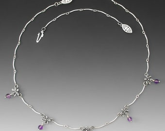 Five Orchid Sterling Silver Necklace, Amethyst