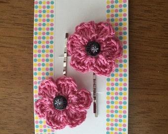 Crocheted Flower Hair Pins/ Crocheted Flower Bobby Pins
