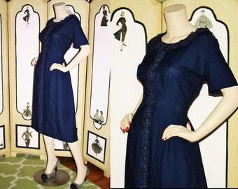 Vintage 50's Navy Day Dress with Organza Applique Flower Detail. XL XXL.