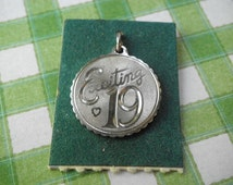Vintage Sterling EXCITING 19 Disk Charm Smaller Size
