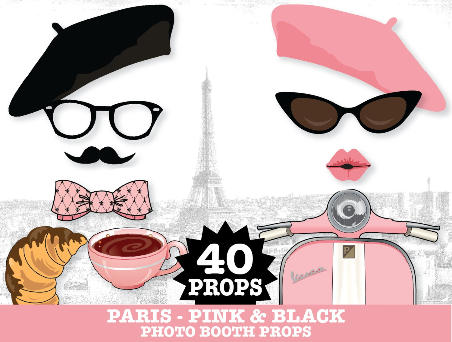 Populaire Paris Photo Booth Props Sweet 16 Parisian Chanel Party MV51