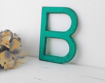 Rustic metal painted letter - You Choose Letter & Color - dark turquoise shown