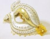Masquerade Ball Mask - Venetian Mask - Crystal Mask  - Wedding Mask - White Masquerade Mask - Crystal Maiden