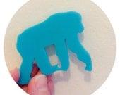 Chimpanzee Pin, Turquoise Blue Lasercut Acrylic, Animal Brooch, Chimp Brooch