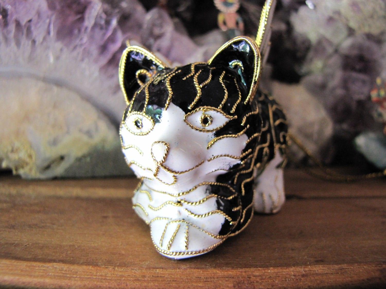 Vintage Cloisonne Cat With Angel Wings Ornament Figurine Black