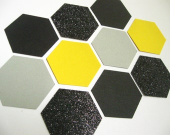 NEW - Confetti Celebration - Yellow/Gray/Black - Hexagon/Honeycomb shape- for  Parties/Showers/Weddings/Wall Art/DIY Garland/ Nursery Decor