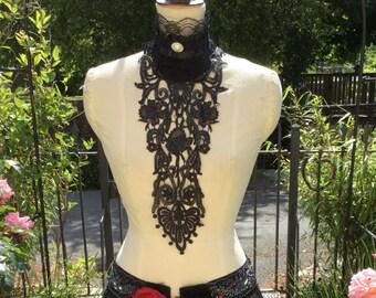 Black lace jabot - Burlesque - Costume - Circus - Cirque - Bride - Victorian - Gothic - Ringmaster - Steampunk.