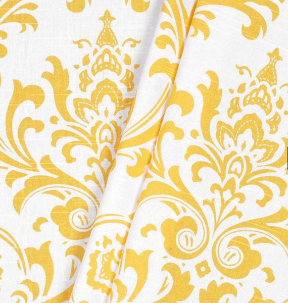 Modern Yellow Curtain Panels Modern Geometric Damask Stripe Floral ...