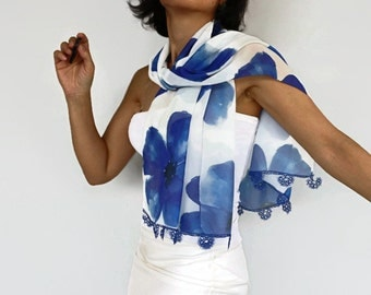 Tatting Lace Scarf, Designer Blue Scarf, Floral Stole, Bridesmaids Gift, Couture Scarf, Silk Chiffon. Limited Item, OOAK.Lapis Blue Midnight