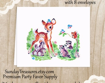 Thank You Cards Set 8 / Vintage Deer Woodland Forest Animals / Blank Notecards Stationery / Baby Shower Birthday Party  3 Day Ship (nc)