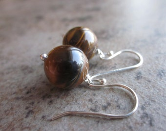 Tiger Eye Orb Earrings, Natural Tiger Iron, Gemstone Rounds, 925 Sterling Silver, Coffee bean brown, Warm Neutral Colour, Bridesmaid Earring