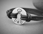 DAD Bracelet, Small Aluminum Disk stamped with DAD and a bear at the top, adjustable paraline cord, Fathers Day, Dad Gift, Father Son Gift
