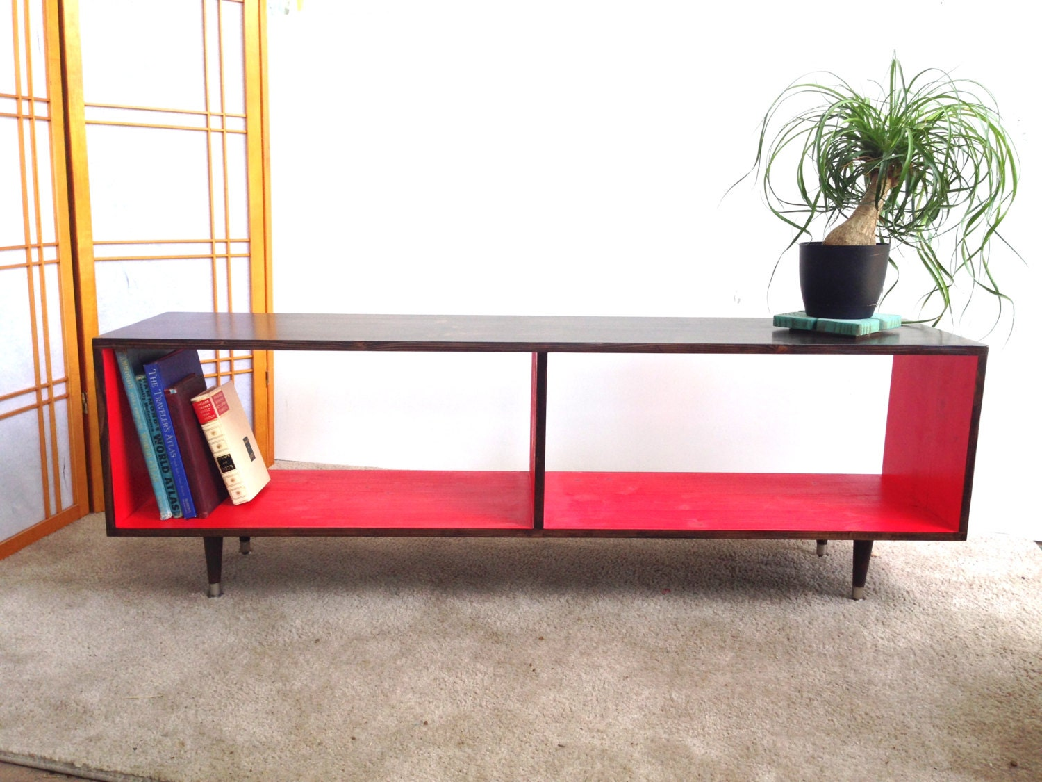 Mid century modern record vinyl cabinet media table tv stand for Table tele
