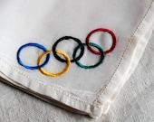 Olympic silk handkerchief souvenir, hand embroidered vintage