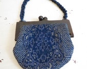 Vintage 1930s Blue Cloth Purse Made in France