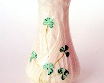 Vintage Belleek Porcelain Vase, Daisy Spill,Handpainted Shamrocks,1993 8th Mark Collectible, Home Decor, Ireland, Molded Porcelain,
