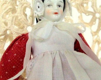 Vintage Porcelain Doll, Head and Shoulders, Arm and Hands, Lower Leg and Feet, Fabric Body, Hand Detailed, Embroidered Pinafore, Collectible