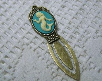 Mermaid Bookmark, Nautical Bookmark, Mermaid Cameo Antiqued Bronze Metal Bookmark, Nautical Gift, Sailor, Sailing, little mermaid, turquoise