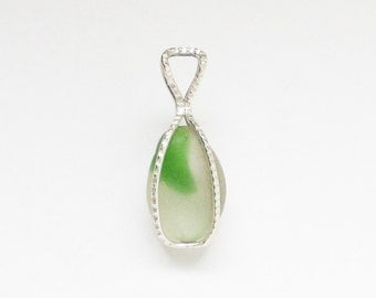 Sea Glass Jewelry - Sterling Caged Green & White Bonfire Sea Glass Pendant