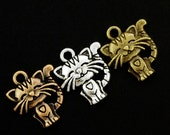 6 Purrfect Cat Charms - 19mm X 17mm - You PICK Finish - With Matching Handmade Jump Rings - 100% Guarantee