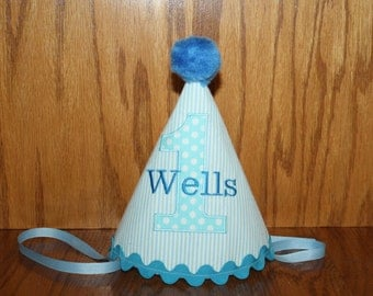 boys 1st birthday party hat, first birthday hat, seersucker hat in blue stripe with aqua blue polka dot accents personalized hat, photo prop