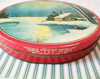 SALE - Midcentury Candy Tin, Metal, Horton's Chocolates tin, container