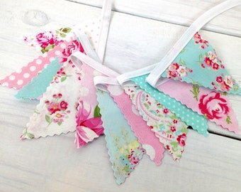 Bunting Banner Mini, Fabric Banner, Wedding, Baby Shower, Shabby Chic, Nursery Decor - Pink, Aqua Blue, Shabby Chic, Flowers, Roses