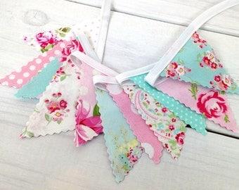 Bunting Banner Mini, Fabric Banner, Wedding, Baby Shower, Shabby Chic, Nursery Decor - Pink, Aqua Blue, Shabby Chic, Flowers, Roses
