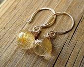 Golden Globe Earrings / Gold Rutilated Quartz Dangles / 14k Goldfill Statement Jewelry