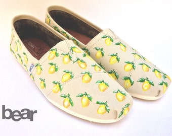 Custom TOMS Hand Painted Shoes - Lemon Pattern